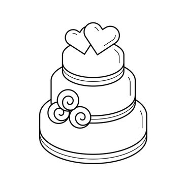 Wedding cake vector line icon isolated on white background. Layered wedding cake decorated with hearts line icon for infographic, website or app.