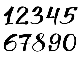 Hand Drawn Numbers. Handwritten Style Numbers, digital style hand-drawn doodle sketch.Vector Illustration isolated on white background. can be used for postcards, posters, presentations