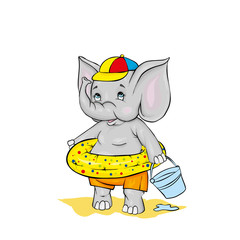 Cute elephant in shorts, a cap and in a swimming circle. Vector illustration. The boy on the beach.