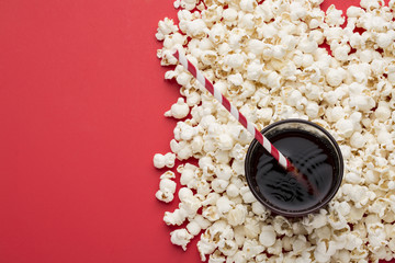 popcorn on red textured background