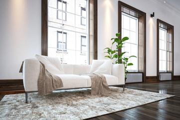 Large spacious minimalist living room interior