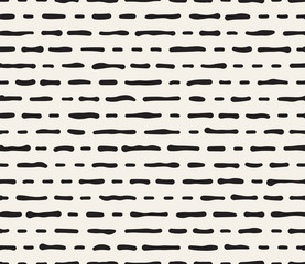 Hand drawn black and white ink striped seamless pattern. Vector grunge lattice texture. Monochrome brush  strokes lines background