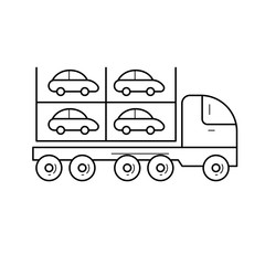 Car carrier vector line icon isolated on white background. Transportation of new cars on an auto transport carrier line icon for infographic, website or app.