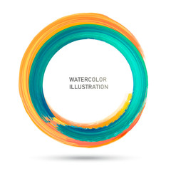 Watercolor color circle texture. Ink round stroke on white background. Vector illustration of grunge circle stains
