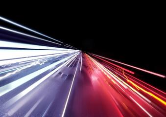 Traffic car light trails background. 3D illustration
