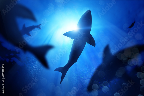 A school of sharks in the deep blue sea. Mixed media illustration