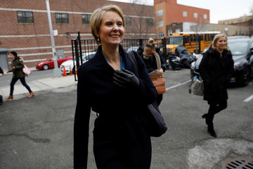 Actress Cynthia Nixon arrives at campaign stop to announce she is running for Governor of New York in Brooklyn