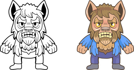 cute cartoon werewolf, funny illustration