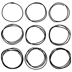 Set Of Hand Drawn Circle Elements, Hand Drawn Sketch.