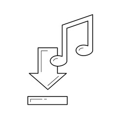Download music vector line icon isolated on white background. Download music line icon for infographic, website or app. Icon designed on a grid system.