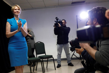 Actress Cynthia Nixon claps before her announcement that she is running for Governor of New York in Brooklyn