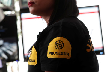"""An employee of Prosegur works in the """"3117"""" emergency call centre against sexual harassment on transport at the Saint-Lazare train station, in Paris"""
