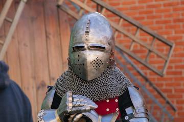 knightly medieval helmet. Knight in armor