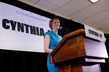 Actress Cynthia Nixon speaks during her announcement that she is running for Governor of New York in Brooklyn