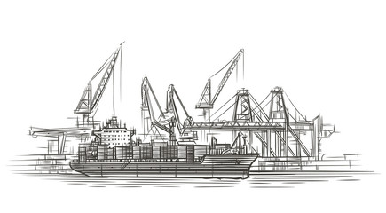 Tanker ship at port illustration. Vector.
