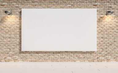 Brick wall with blank poster for text and wall lamps. 3d illustration
