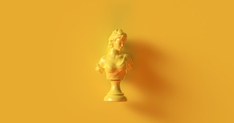 Yellow Bust Sculpture 3d illustration
