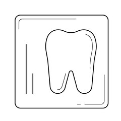 Dental x-ray vector line icon isolated on white background. Tooth x-ray line icon for infographic, website or app. Icon designed on a grid system.