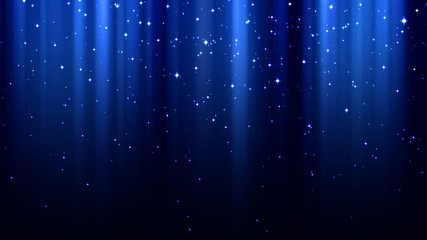 Blue abstract background with rays of light, sparkles, northern lights, night starry sky
