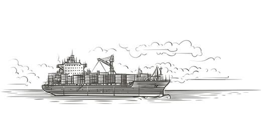 Tanker in sea illustration. Vector.