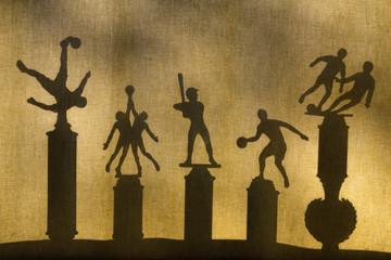 Multiple Sport Trophies in Silhouette