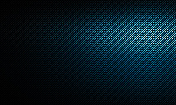 Abstract modern blue carbon fiber texture with left side light, material design for background, wallpaper, graphic design