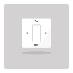 Vector design of flat icon, Electrical light switch On/Off on isolated background.