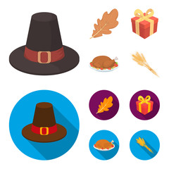 Hat of a pilgrim, oak leaf, gift in a box, fried turkey. Canada thanksgiving day set collection icons in cartoon,flat style vector symbol stock illustration web.