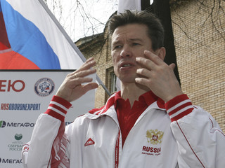 Coach of Russia's national hockey team Bykov speaks at Russia's team base in Moscow