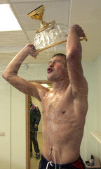 Berezutsky of CSKA Moscow celebrates winning Russia's supercup in Moscow
