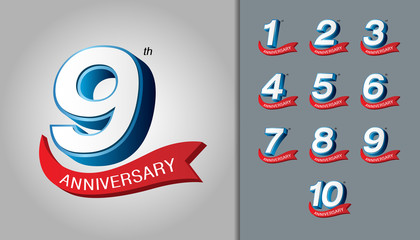 Set of anniversary logotype. Modern anniversary celebration emblem with red ribbon. Design for booklet, leaflet, magazine, brochure poster, web, invitation or greeting card.