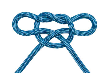 Decorative knot of blue rope.