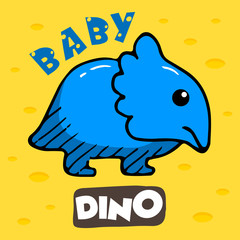 Adorable Baby Dino Mascot. Vector Cartoon Illustration with Yellow Background