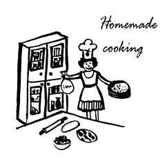 drawing of a funny cartoon comic picture, a woman cook in a hood in the kitchen with a large wooden buffet and a table prepares pizza, sketch, hand-drawn vector illustration
