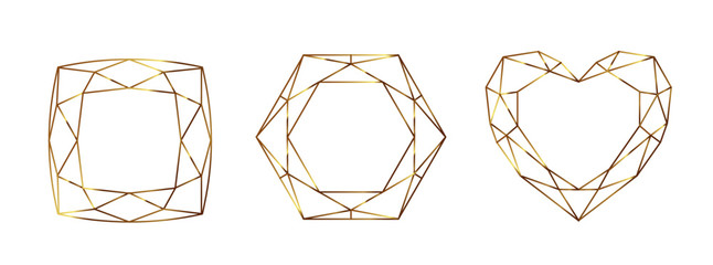 Set of Geometrical polyhedrons, frames with place for text. Modern abstract backgrounds in art deco style for design. Vector illustration.Eps10 Wall mural