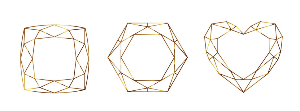 Set of Geometrical polyhedrons, frames with place for text. Modern abstract backgrounds in art deco style for design. Vector illustration.Eps10