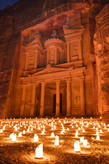 night lights in Petra in Jordan