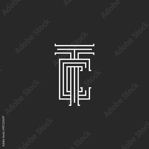 Tc Letters Logo Medieval Monogram Parallel Lines Linear Art Ct