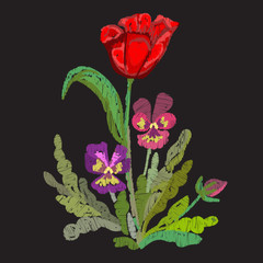 floral tulips embroidery design pansies on dark backdrop