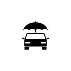 Insurance Car Umbrella. Flat Vector Icon. Simple black symbol on white background