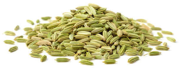 dried fennel seeds isolated on white