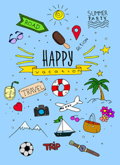 Wall Mural - Hand draw travel and happy vacation sketch backgroun