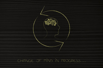 change of mind man with gearwheel thought mechanism with arrows spinning
