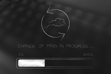 change of mind thought bubble with spinning arrows and progress bar loading
