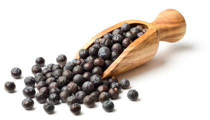 dried juniper berries in the olive wooden scoop