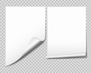 Set of white sheet of paper with bent corner, isolated on transparent background