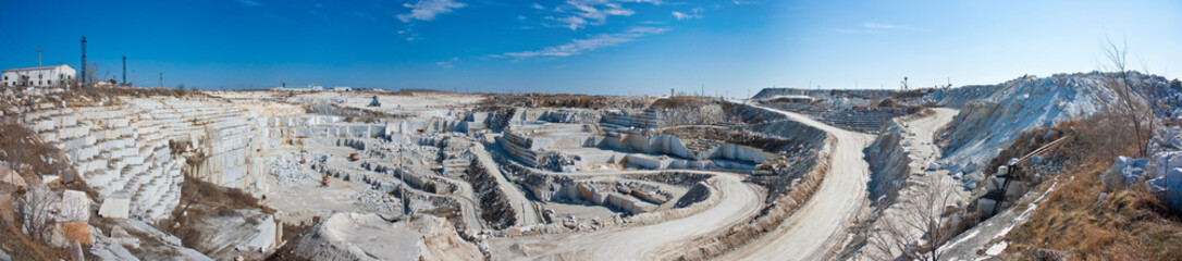 Panorama of a large quarry for marble