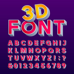 3D retro sign alphabet. Letters and numbers. Signboard font. Stock vector typeface for any typography design.
