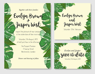 Wedding invite, invitation rsvp thank you card vector floral greenery design. Watercolor cute set. Tropical palm leaves background. card design with jungle leaves