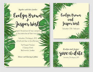 Wedding Invitation, save the date, rsvp invite card Design with green tropical forest palm tree leaves, forest greenery simple. Vector illustration